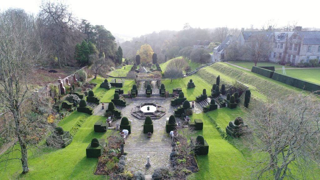 Drone shot of lower garden