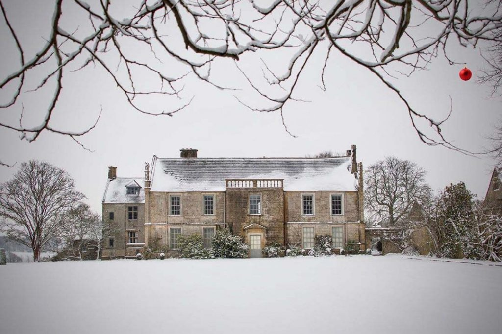 Mapperton House in the snow