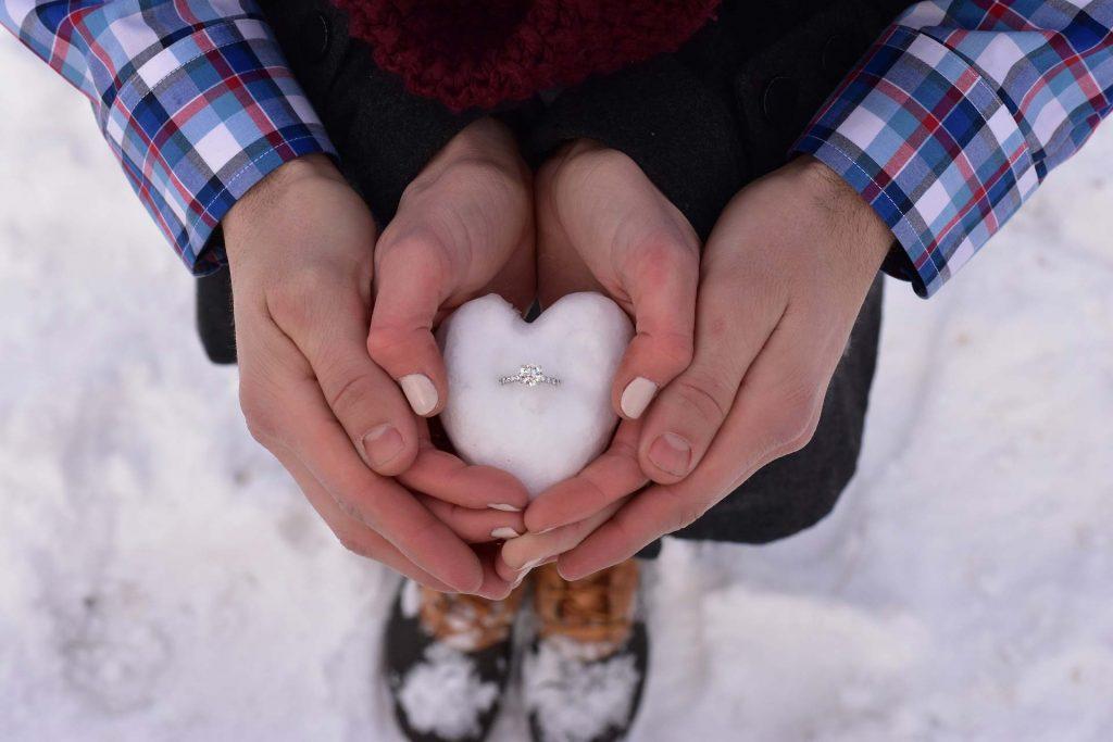 Ring in snow - Mapperton Weddings
