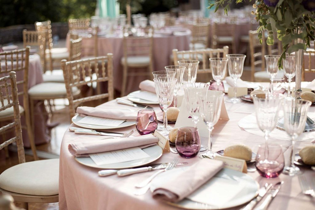 The details, table layout at Mapperton Weddings